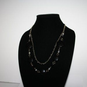 "Vintagejelyfish Jewelry - 36"" long silver and black beaded necklace"